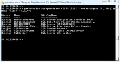 Command prompt showing SQL services running on a machine