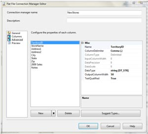 Advanced page in the Flat File Connection Manager Editor dialog