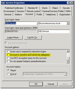 Account tab of the SQL Service Properties dialog