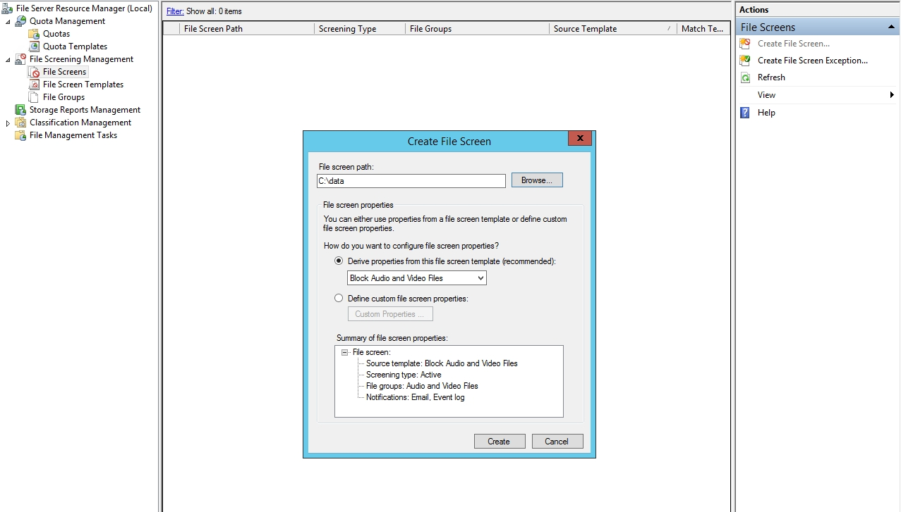 How to install the file server resource manager (fsrm) optional.