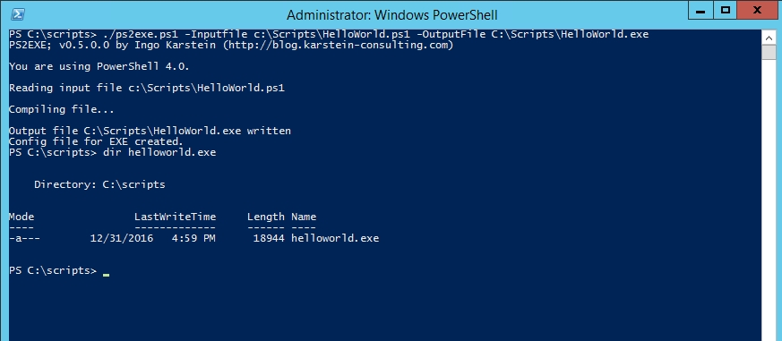 run exe from powershell command line