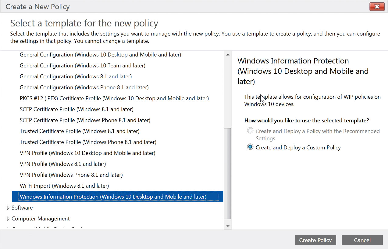 select the windows information policy template