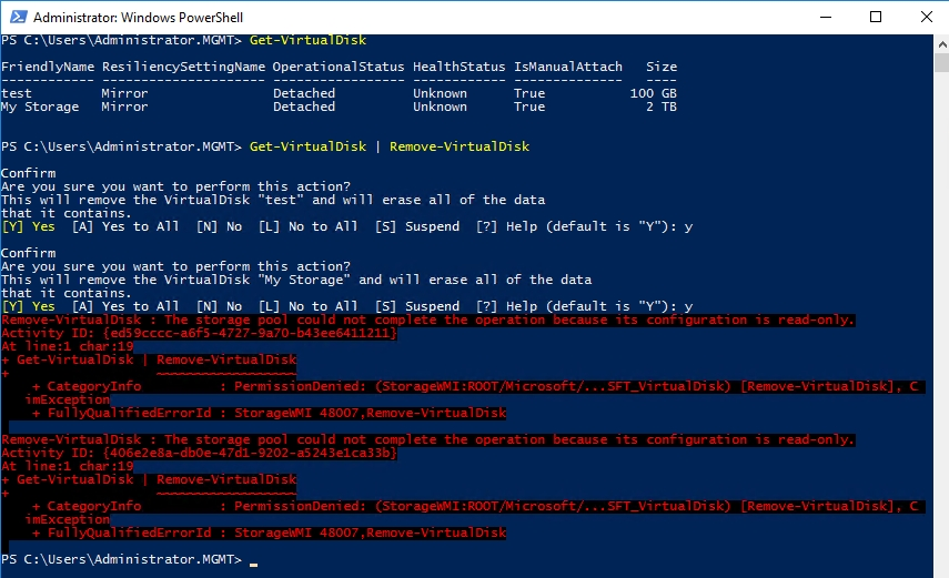How To Delete a Corrupt Windows Server Storage Pool