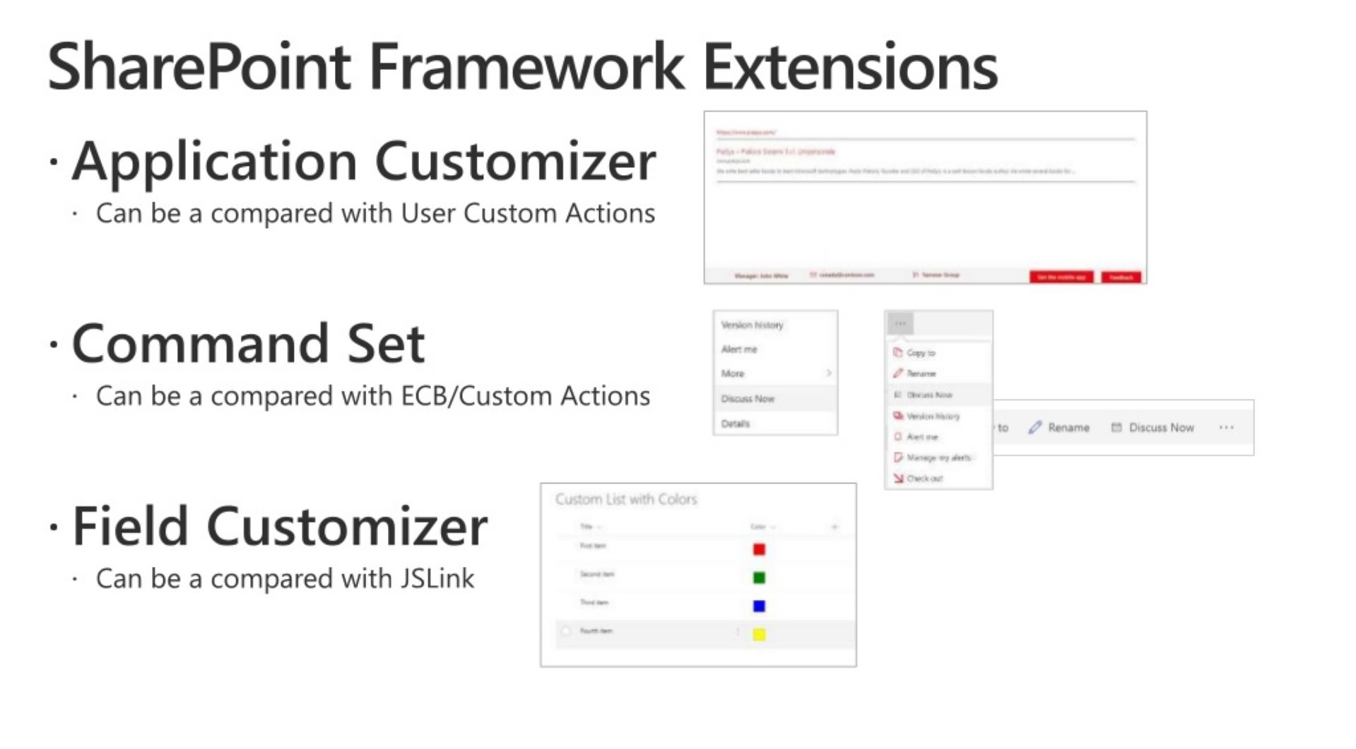 Microsoft Shows How SharePoint Framework Extensions Compare with