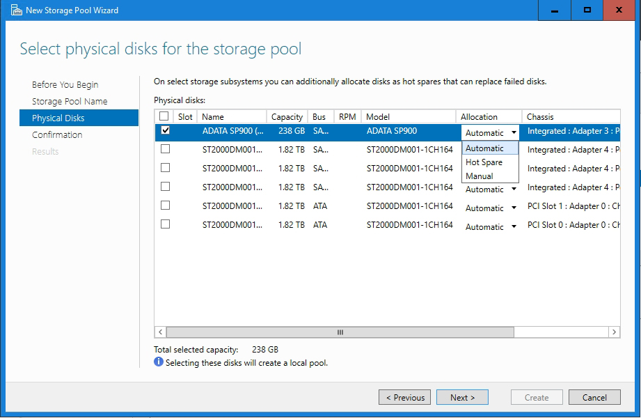 How To Use Storage Spaces in Windows Server 2016, Part 1