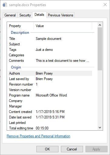 How To Control Your Microsoft Office Metadata -- Redmondmag com